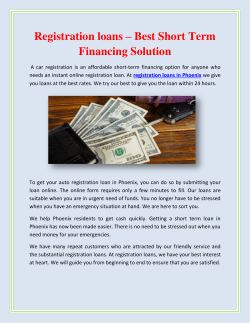 Registration loans – Best Short Term Financing Solution