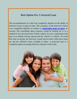 Best Option For A Secured Loan